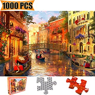 Cool Wall Decal Sticker Vinyl Jigsaw Puzzles 1000 Pieces Puzzles for Adults Artwork Art for Teen Adult Grown Up Puzzles Large Size Toy Educational Games Gift 1000 PCS Entertainment (Romantic Venice)