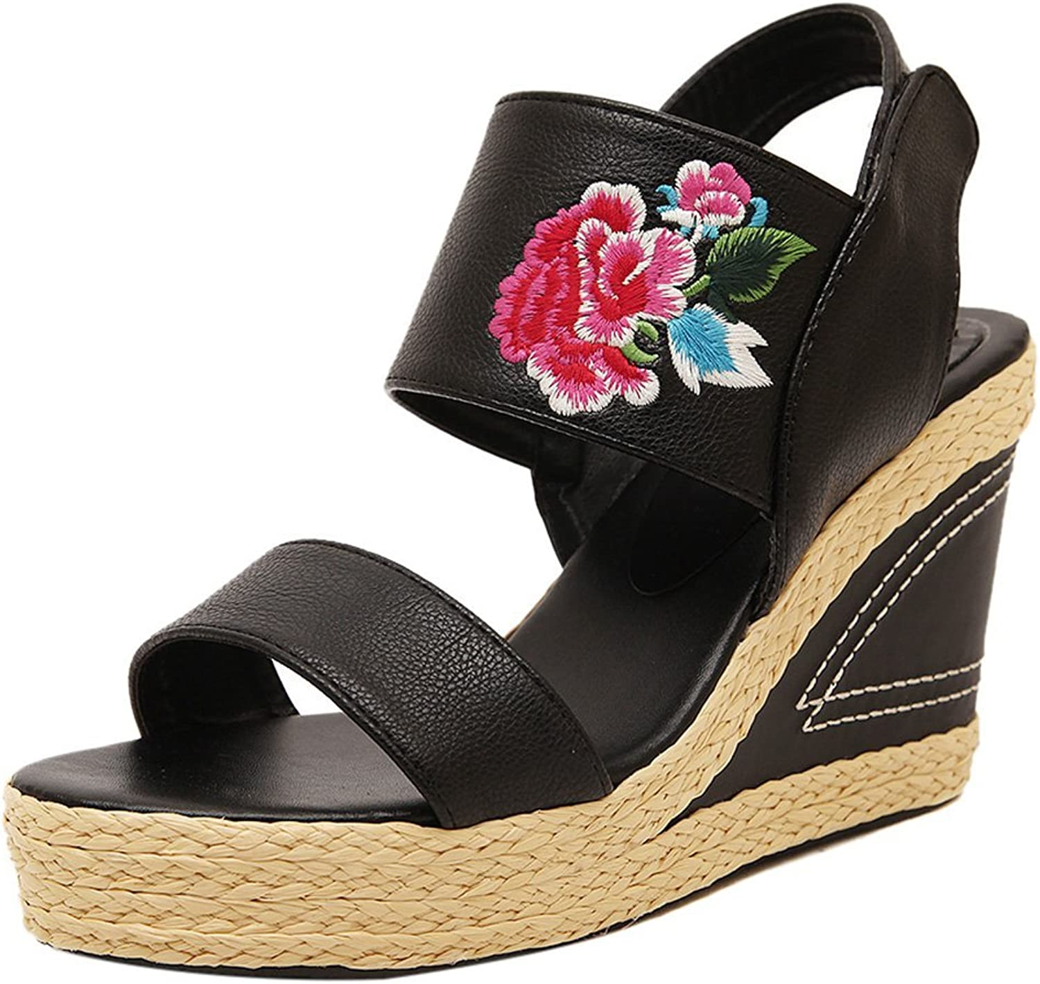 ONCEFIRST Women's Embroidery Flower Wedge Sandal