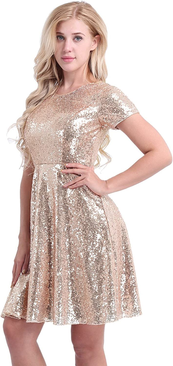 CHICTRY Women's Short Sleeve Sequins Cocktail Evening Party Bridesmaid A-line Dress