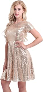 Women's Short Sleeve Sequins Cocktail Evening Party Bridesmaid A-line Dress