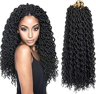 22inch Curly Faux Locs Crochet Hair Goddess Locs Crochet Braiding Hair Braids Mambo Hair Extension 24Roots/Pack (5pack, 1B#)