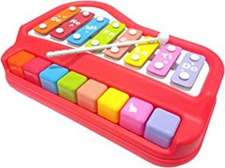 GALAXY GIFT GALLERY 2 in 1 Xylophone and Piano Toy with Colorful Keys for Toddlers and Kids (Multicolor) (Red)