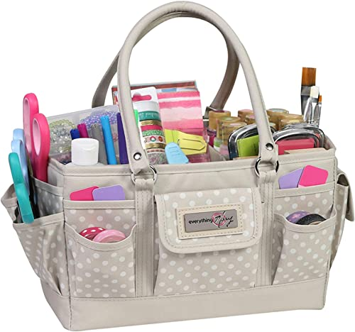 Everything Mary Craft Bag Organizer Tote, Tan Dot - Storage Art Caddy for Sewing & Scrapbooking - Crafts Supply Carri...