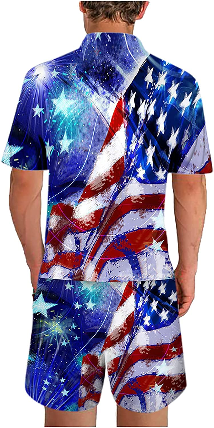 DZQUY Men's 4th of July 2 Piece Short Outfit American USA Flag Printed Graphic Tee and Sports Shorts Athletic Tracksuit