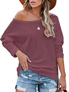 Yanekop Womens Off Shoulder Waffle Knit Top Long Sleeve Loose Fit Pullover with Side Slit