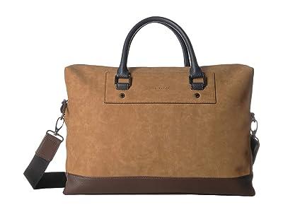 Ted Baker Pitza PU Nubuck Document Bag (Tan) Briefcase Bags