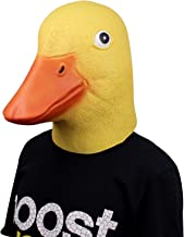 Deluxe Novelty Halloween Costume Latex Duck Head Mask Adult Size Yellow and Blue