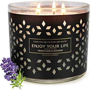 3 Wick Candles for Home Scented Soy Wax Jar Candles Gifts for Women Large Lavender Candle 14.5OZ 125 Hours Cade & Lavender