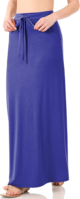 Women's Elastic Waist Stretch Bodycon Midi Knee Length Pencil Skirt