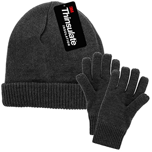 DG Hill Mens Winter Hat and Gloves Set with 3M Thinsulate Fleece Lining  Beanie 5736491ea09