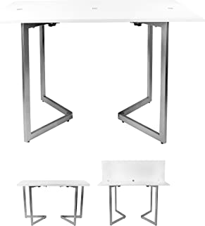 SpaceMaster SM-CO-2238 Transforming Convertible Space Saving Dining Table and Office Desk, White