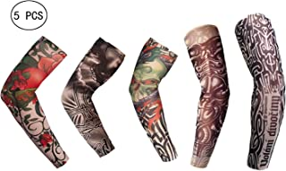 Fake Tattoo Sleeves Body Art Arm Stockings Slip Accessories Temporary Tattoo Arm Arts Fake Arm Sunscreen Sleeves Halloween Tattoo for Cosplay Halloween Party Sports Festival Cycling Dancing (A002)