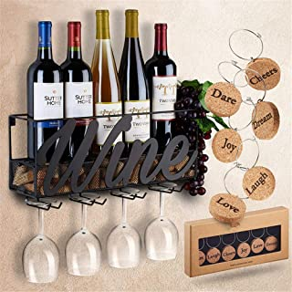 Iron Wall MountedWine Rack, Can Hold 5 Wine Bottles and 4 Goblets with Cork Storage Bottle Display Rack for Kitchen Livin...