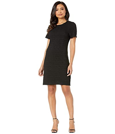 Nally & Millie Short Sleeve Jacquard Dress (Black) Women