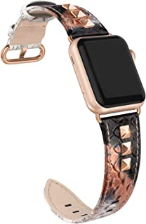 SWEES Genuine Leather Band Compatible for iWatch Apple Watch 38mm 40mm Series 5, 4, 3, 2, 1, Sports & Edition, Bling Dressy Designer Rivets Studs Leather Band Strap for Women, Snake Skin Pattern