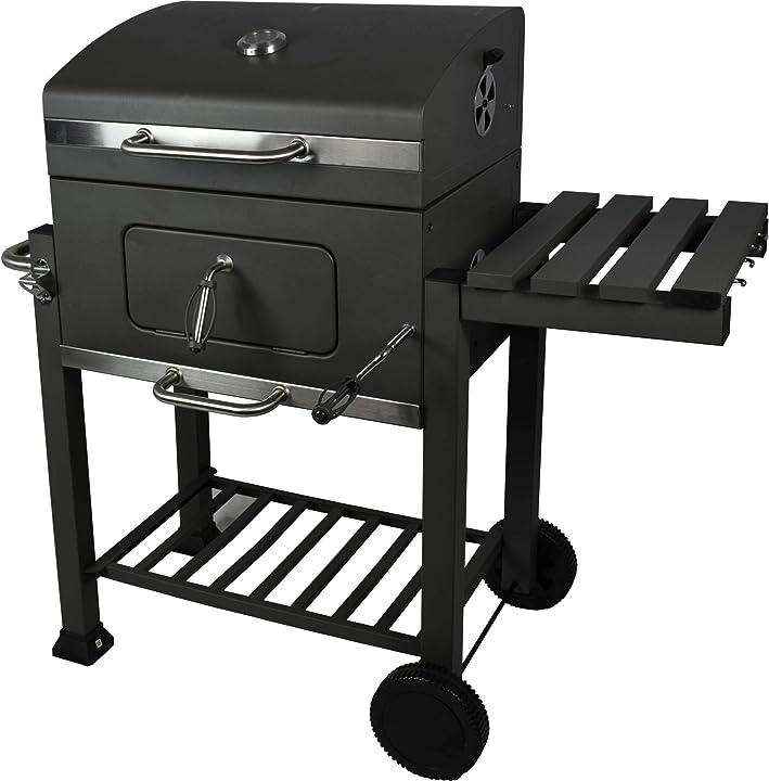 Barbecue rettangolare a carbonella, in acciaio inox, di grandi dimensioni - activa B087TYGM5B
