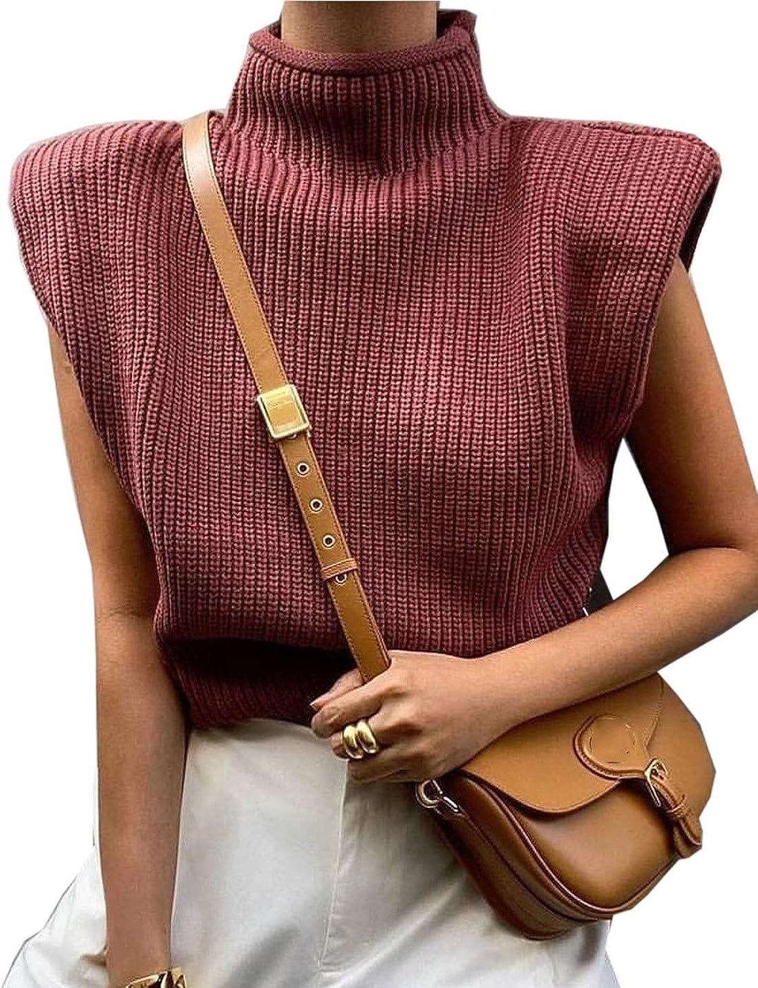 PAODIKUAI Women Sexy Turtleneck Sleeveless Knitted Sweater Vest Streetwear
