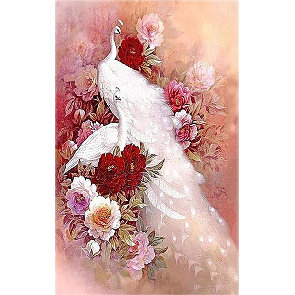 TOCARE 5D Diamond Painting by Numbers for Adults Full Drill Large 40x60CM White Peacock Home Decor