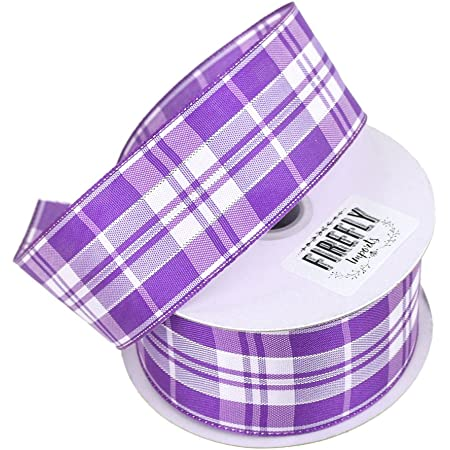 """Homeford Firefly Imports Plaid Checkered Wired Christmas Ribbon, 1-1/2-Inch, 10 Yards, Purple, 1.5"""""""