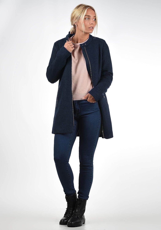 Blend SHE Wilma Damen Wollmantel Übergangsjacke Mantel Jacke mit Stehkragen Navy (70230)