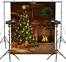 MUEEU 8x8ft Christmas Theme Fireplace Photography Backdrops Christmas Tree Decoration Festival Photo Backgrounds for Studio Props-Green Red Yellow