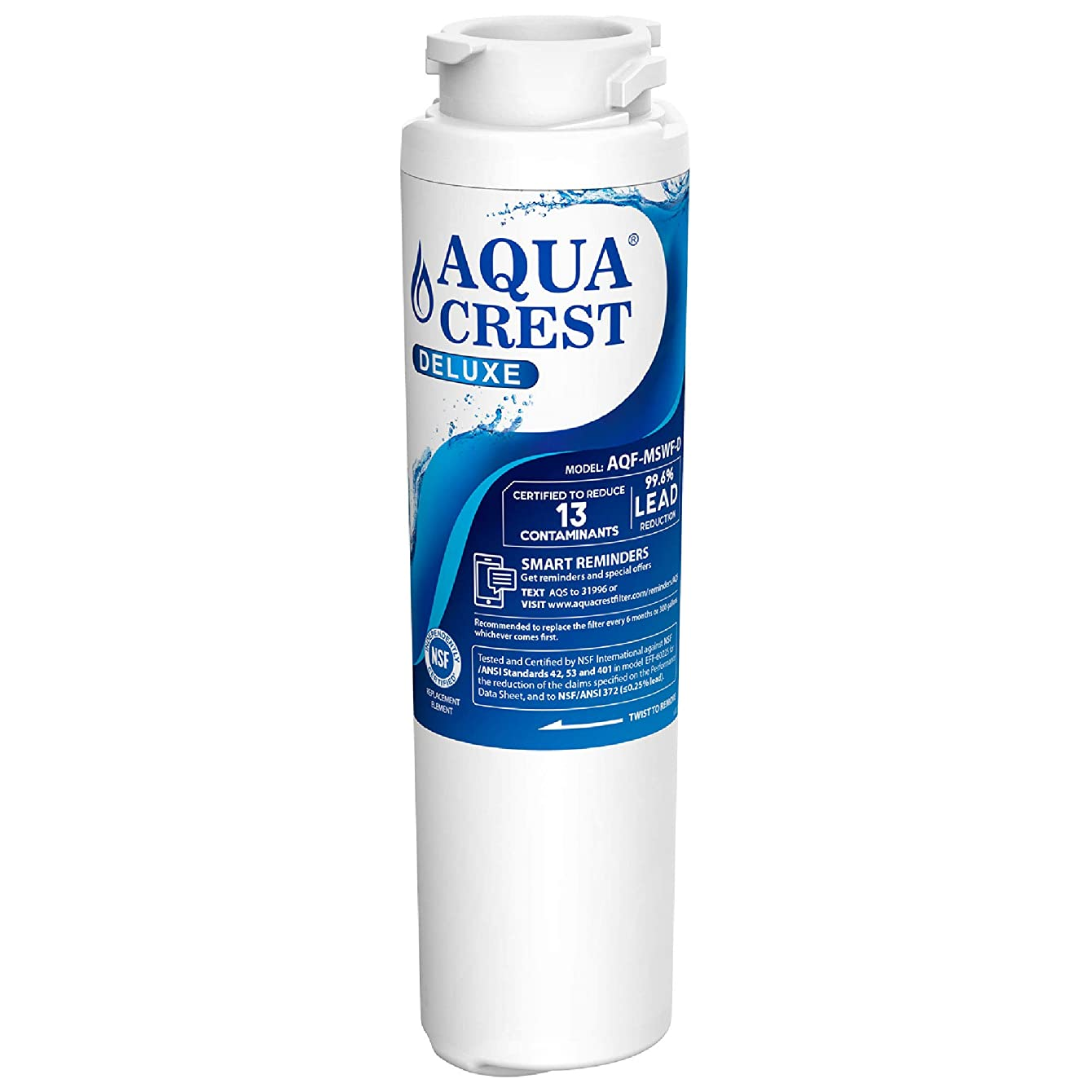 AQUACREST NSF 401&53&42 Replacement MSWF Refrigerator Water Filter, Compatible with GE MSWF SmartWater 101821B 101820A