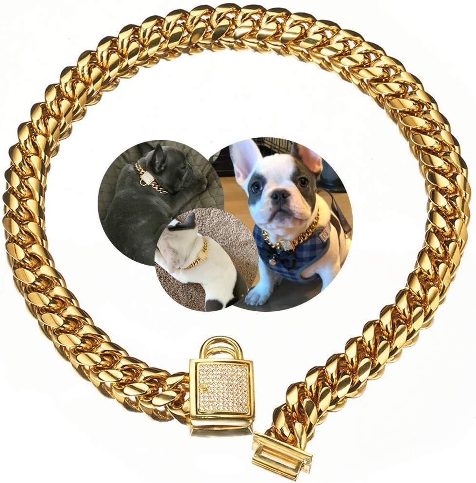 Designer Dog Collar Gold Metal Stainless Steel Award-winning store Washington Mall Zirconia with Loc