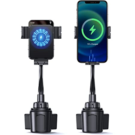 15W Wireless Car Charger Holder, TOLLEFE Phone Wireless Charger Cup Mount, Qi Fast Charging, Auto Clamping Car Mount, Universal Phone Wireless Charger with Car Mount