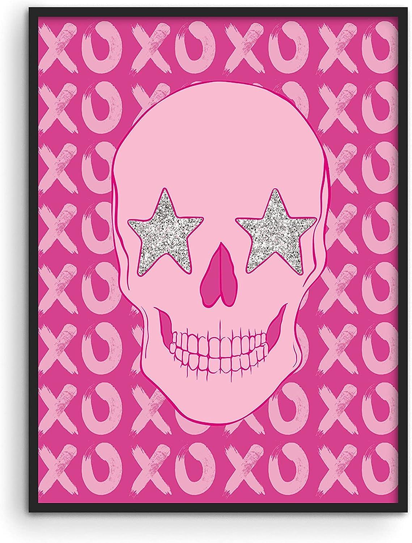 "Haus and Hues Skull Art Print - Pink Posters For Teen Girls Room Baddie Aesthetic Room Decor Wall Art Pink Posters For Room Aesthetic Posters For Bedroom Pink Modern Art Girly Art UNFRAMED 12""x16"""
