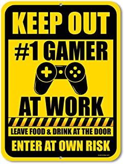 Honey Dew Gifts Funny Signs, Keep Out Gamer at Work 9 inch by 12 inch Metal Aluminum Novelty Signs, Made in USA