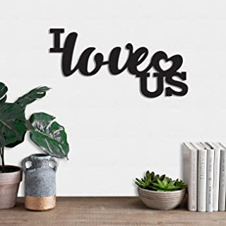 Art Street MDF Plaque Painted Cutout Ready to Hang Home Décor Wall Art (I Love US -Black)