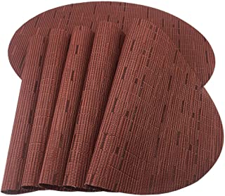 Red-A Placemats, Imitation Bamboo Oval Woven Vinyl Heat Resistant Placemats Washable Table Mats for Kitchen Table Set of 6,Wine