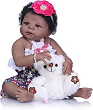 TERABITHIA 22 inch Cute African American Reborn Baby Doll,Little Bear Girl Doll Crafted in Silicone-Like Vinyl Full Body