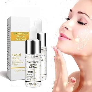 24K Gold Six Peptides Serum Face Cream, Face Skin Care Serum, 15ML Face Lift Vitamin Serum Hyaluronic, For Skin Lift Firmi...