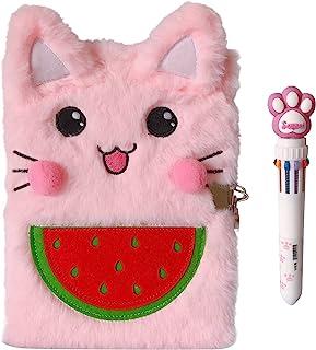 دفترچه یادداشت گربه Luolizon برای دختران با قفل و 2 کلید ، ست هدیه نوت بوک مجله کودکان و نوجوانان با قلم چند رنگ ، 80 ورق قلب شیرین