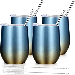 Insulated Wine Tumbler with Lid, Deedro 12 oz Double Wall Vacuum Insulated Wine Cup with Straws and Brushes, Stemless Stainless Steel Wine Glass for Champagne, Drinks, 4 Pieces (Glitter Blue and Gold)