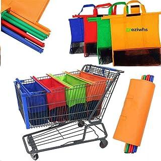 Zyeziwhs Lot de 4 sacs cabas non tissés réutilisables pour chariot de supermarché de taille standard, pliables, respectueu...