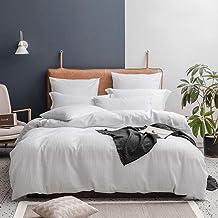 Lausonhouse Seersucker Duvet Cover Set,Yarn Dyed Seersucker Weave Striped Bedding Set,3 Pieces, Cotton, White, King