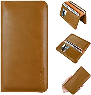 AIOMAO Universal Leather Wallet Case Phone Bags Case 5.5 inch Cove for Samsung S7 S6 S5 for iPhone 7 6 6S Plus SE 5S 5 Soft Brand Cover Purse(Light Brown)