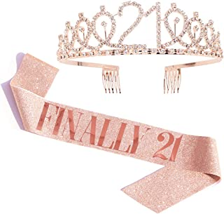 """""""Finally 21"""" Sash & Rhinestone Tiara Set - 21st Birthday Gifts Birthday Sash for Women Fun Party Favors Birthday Party Supplies (Gold Glitter with Rose Gold Lettering)"""
