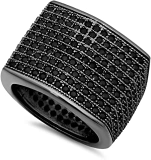 Black Plated Micro-Pave Iced Out Cubic Zirconia Square Top Ring + Microfiber