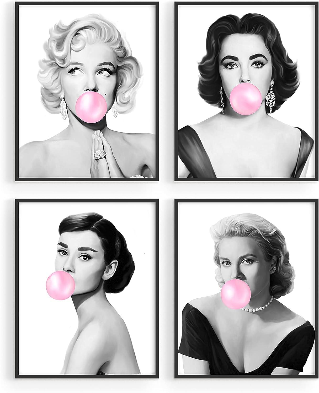 Haus and Hues Celebrity Wall Art Pop Art Wall Decor - Set of 4 Fashion Wall Art | Audrey Hepburn Poster Marilyn Monroe Poster Grace Kelly Poster Elizabeth Taylor Pop Wall Art UNFRAMED 8