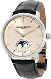 Frederique Constant Men's Slimline Stainless Steel Automatic-self-Wind Watch with Leather-Alligator Strap, Black, 21 (Model: FC-705BG4S6)