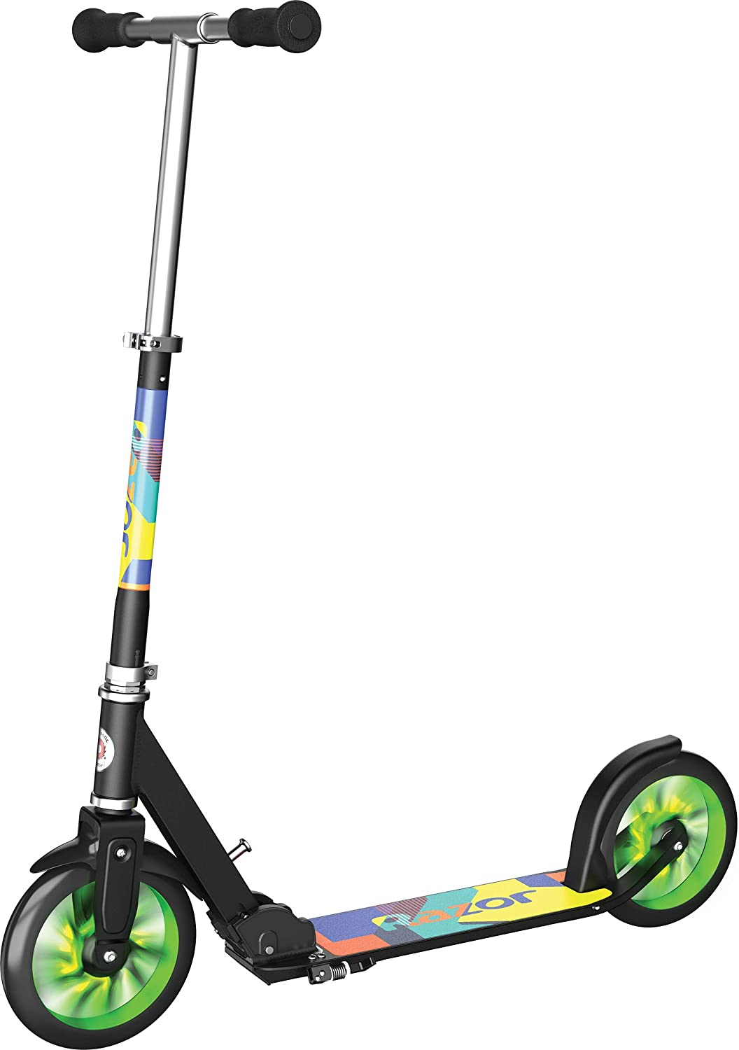 Folding Scooter for Riders Up to 220 lbs Razor A5 Lux Light-Up Kick Scooter Lighted Large Wheels