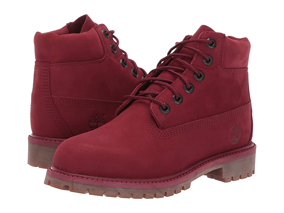 Timberland Kids 6 Premium Waterproof Boot (Little Kid) (Burgundy Nubuck) Kids Shoes