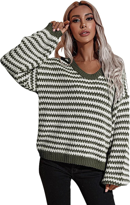 JMETRIE Women's Fashion V-Neck Striped Loose Casual Slim Knit Pullover Sweater