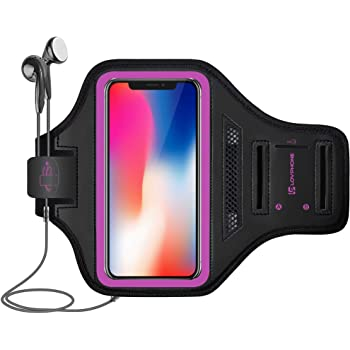 LOVPHONE iPhone 12 Pro/iPhone 12/iPhone 11 Pro/iPhone 11/iPhone XR Armband, Sport Running Exercise Gym Case with Key Holder & Card Slot,Fingerprint Sensor Access Supported and Sweat-Proof