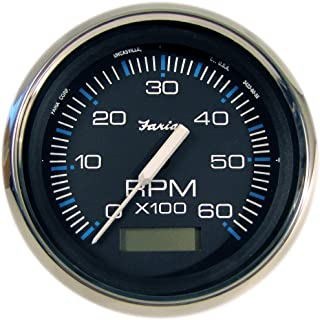 Faria 33732 Chesapeake Tachometer 6000 RPM Gauge with Hourmeter-Black SS, 4