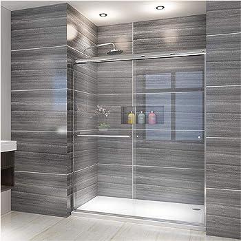 Elegant Clear Glass Semi-Frameless Bypass Sliding Shower Door