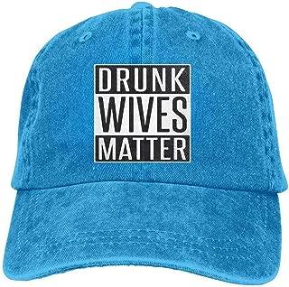 YINREN Drunk Wives Matter Novelty Unisex Washed Cap Adjustable Dad's Denim Stetson Hat Blue Caps